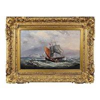 Ebenezer Colls 1812 - 1897. English. Landing the Pilot, off the Needles, Isle of Wight. Oil on Canvas. Framed.
