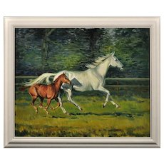 Neil Cawthorne b.1936. English. Mare with Foal, 1970. Oil on Canvas. Framed.