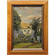 Joseph Milner Kite 1862 - 1946.  English. A Breton Cottage Garden. Oil on Panel. Framed.