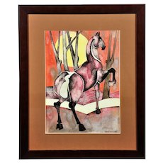 Geoffrey Key b.1941.  English. Horse with Rising Sun, 1989. Ink and Watercolor Wash. Framed.