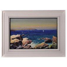 John McDougal 1877 - 1941.  English. Trwyn y Penrhyn, Cemaes Bay, Anglesey, Wales, 1922. Watercolor. Framed.