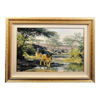 Donald Grant 1930 - 2001.  English. Lions. Evening Drink. Oil on Canvas. Framed.