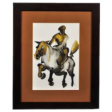 Geoffrey Key b.1941.  English. Horse and Rider I, 1988. Ink and Watercolor Wash. Framed.