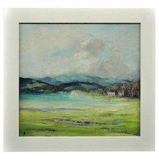 Helen Layfield Bradley 1900 - 1979. English. Sunshine & Shadows Across the Leven Estuary, 1965. Oil on Board. Framed.