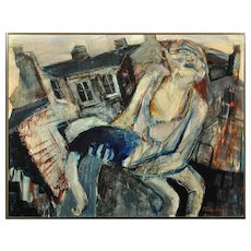 Paul Anthony Waplington b.1938.  English. Mother with Injured Child, Forest Fields, Nottingham, 1968. Mixed Media on Board. Framed.