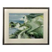 Ronald Maddox 1930 - 2018.  English. Coast Path Towards Bats Head, Dorset, 1982. Watercolor. Framed.