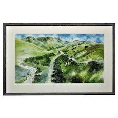 Ronald Maddox 1930 - 2018.  English. Landscape Pattern, Glen Lyon, Scotland, 1980. Watercolor. Framed.