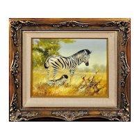 Douglas Van Howd b.1935.  American. Zebra Mare and Foal. Oil on Board. Framed.