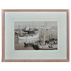 Gyrth Russell 1892 - 1970.  Canadian. Harbour Jetty, Mevagissey, Cornwall. Watercolor En Grisaille. Framed.