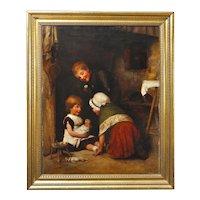 Joseph Clark 1834 - 1926. English. Children at Play, 1881.Framed.
