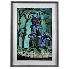 Joan Gillchrest 1918 - 2008.  English. Church and Churchyard. Oil on Board. Framed.