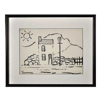 Jack Jones 1922 - 1993.  Welsh. One Up, One Down and Sun, 1985. Charcoal on Paper. Framed.