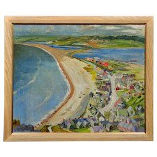 Leonard William Randall XX. British. Chesil Beach and Weymouth from Portland, Dorset, 1961. Oil on Linen Mounted on Board. Framed.