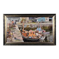 Nancy Bailey 1913 - 2012. English. Working Boats, Porthleven, Cornwall. 1977. Oil Painting. Framed.