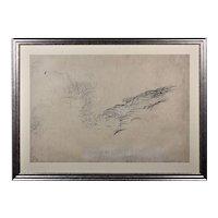 Brenda Chamberlain 1912 - 1971. Welsh. Sea Symphony, June 1966. Pencil on Paper. Framed.