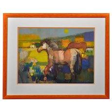 Bohuslav Barlow b.1947. Spring Foal. Oil on Artist's Board. Framed.