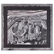 Julian Ruddock b.1965.  British. Lost Hedgerows. Pastel on Paper. Framed.