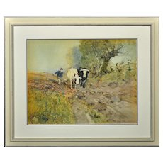 Oswald Garside 1879 - 1942.  English. Bullocks Ploughing, 1904. Watercolor. Framed.