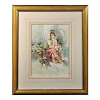 Gordon King b.1939.  English. Airs. Watercolor. Framed.