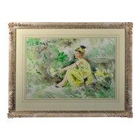 Gordon King b.1939.  English. Roaring Twenties. Watercolor. Framed.