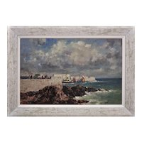 Gyrth Russell 1892 - 1970.  Canadian. Ness Harbour, Butt of Lewis, Outer Hebrides. Oil on canvas. Framed.
