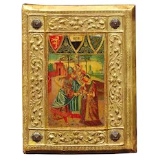 Icilio Federico Joni 1866 - 1946. Painted Wood Tavolette Book Cover Binding in the Sienese Biccherna Style. Framed.
