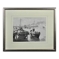 Gyrth Russell 1892 - 1970.  Canadian. Low tide, Mevagissey, Cornwall. Watercolor En Grisaille. Framed.