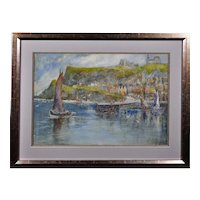 George Scarth French 1859 - 1946.  English. Tate Hill Pier, Whitby, 1930. Watercolor. Framed.