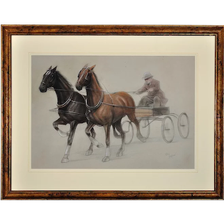 Cecil Charles Windsor Aldin 1870 - 1935. English. Trotting Horses Harnessed to a Lightweight Fly. Chalk on Paper. Framed.