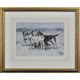 Arthur Wardle 1864 - 1949.  English. Welsh Hounds from the packs of Lieutenant Buckley & The Hon. H.C. Wynn. Watercolor. Framed.