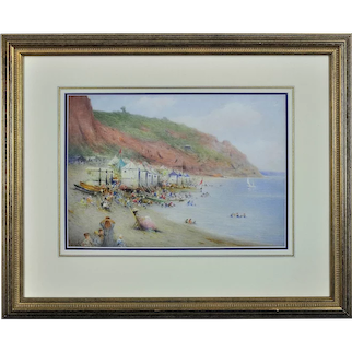 Harry E. James fl.1882 - 1912.  English. Bathing Machines on Babbacombe Beach, Torquay, Devon. Watercolor. Framed.