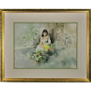 Gordon King b.1939.  English. Christina. Watercolor. Framed.