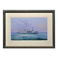 Vincenzo D'Esposito 1886 - 1946. Italian. HMS Nairana, Royal Navy Seaplane Carrier. Gouache on Paper. Framed.