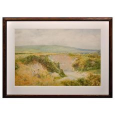 Charles Gregory 1849 – 1920. English. Summers Day at Steyning Bowl, West Sussex, South Downs Way. Watercolor. Framed.