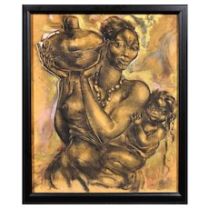 Mother and Child. African School. Indistinctly Signed. 20th Century. Mixed Media. Framed.