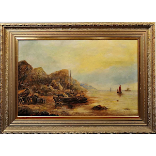 Edward Duncan 1803 - 1882. English. Beach and Rocks at Upgang, near Whitby, North Yorkshire. Oil on Canvas. Framed.