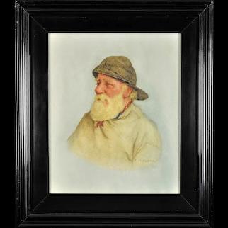 Frederick James McNamara Evans 1859 - 1929.  English. Portrait of a Newlyn Fisherman. Watercolor. Framed.