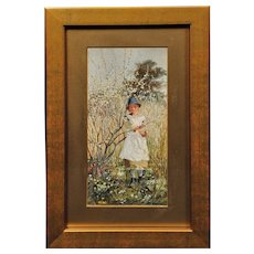 Edwin Harris 1855 - 1906.  English. Young Girl Picking Spring Blossom. Watercolor. Framed.
