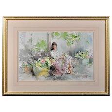 Gordon King b.1939.  English. Fond Memories. Watercolor. Framed
