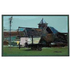 Serge Labegorre b.1932.  French. Essai 18 Ml. Oil on Board. Framed.