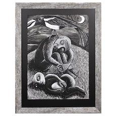 Julian Ruddock b.1965.  British. The Thief. Pastel on Paper. Framed.