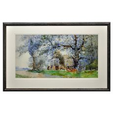 Edgar Woollatt 1871 - 1931.  English. Romany Gypsy Caravan at the Round House, Clifton Lane, Wilford, Nottingham. Watercolor. Framed.