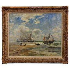 Frederick Stuart Richardson 1855 - 1934. English. Bomschuiten on the Beach at Katwijk Aan Zee. Oil On Canvas. Framed.