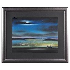 Robert Littleford b.1940.  English. Nightime from Saddleworth Moor. Pastel. Framed.