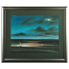 Robert Littleford b.1940.  English. Moor Lane, above Oldham, Saddleworth, 1983. Pastel. Framed.