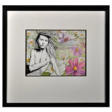 Liz Wall.  Welsh. Siren. Watercolor and Ink.  Signed and Dated 2011 Lower Right. Framed.