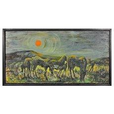 Hazel Barnett. British. Ponies at Penlan, Swansea, Wales. 1967. Oil Painting. Framed.