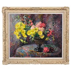 Jean Chaleye 1878 - 1960. French. Still life of Carnations & Marigolds. Oil on Wood. Framed.