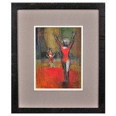 Robert King b.1936.  English. Gymnast. Pastel. Framed.