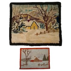 Two New England folk art hooked rug scenes of winter homesteads